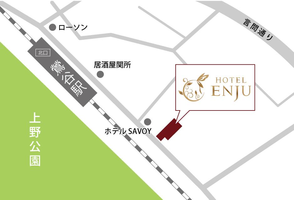 ホテルエンジュのアクセスマップ